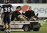 San Diego State's Ryan Katz (5) is carted off the field after injuring his ankle in the first half of an NCAA college football game in Reno, Nev., on Saturday, Oct. 20, 2012. (AP Photo/Cathleen Allison)