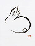 Cute minimalistic bunny artistic oriental style illustration, Japanese Zen Sumi-e ink painting on white rice paper background