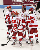 Matt Grzelcyk (BU - 5), Evan Rodrigues (BU - 17), Danny O'Regan (BU - 10), Matt Nieto (BU - 19), Ryan Ruikka (BU - 2) - The Boston University Terriers defeated the visiting Northeastern University Huskies 5-0 on senior night Saturday, March 9, 2013, at Agganis Arena in Boston, Massachusetts.