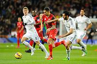 Real Madrid´s Alvaro Arbeloa and Toni Kroos and Sevilla's  during 2014-15 La Liga match between Real Madrid and Sevilla at Santiago Bernabeu stadium in Alcorcon, Madrid, Spain. February 04, 2015. (ALTERPHOTOS/Luis Fernandez) /NORTEphoto.com