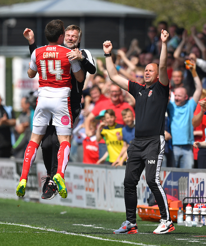 Fleetwood Town's Bobby Grant and Manager Steven Pressley jump with delight after FTFC's first goal<br /> <br /> Photographer Dave Howarth/CameraSport<br /> <br /> Football - The Football League Sky Bet League One - Fleetwood Town v Crewe Alexandra - Sunday 8th May 2016 - Highbury Stadium - Fleetwood    <br /> <br /> &copy; CameraSport - 43 Linden Ave. Countesthorpe. Leicester. England. LE8 5PG - Tel: +44 (0) 116 277 4147 - admin@camerasport.com - www.camerasport.com