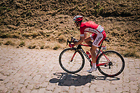 Nicolas Edet (FRA/Cofidis) on pav&eacute; sector #14<br /> <br /> Stage 9: Arras Citadelle &gt; Roubaix (154km)<br /> <br /> 105th Tour de France 2018<br /> &copy;kramon