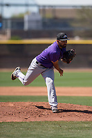 Colorado Rockies relief pitcher Rico Garcia (39) follows through on his delivery during an Extended Spring Training game against the San Diego Padres at Peoria Sports Complex on March 30, 2018 in Peoria, Arizona. (Zachary Lucy/Four Seam Images)