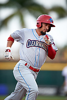 Clearwater Threshers designated hitter Herlis Rodriguez (27) running the bases during a game against the Bradenton Marauders on April 18, 2017 at LECOM Park in Bradenton, Florida.  Clearwater defeated Bradenton 4-2.  (Mike Janes/Four Seam Images)