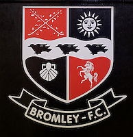 The Bromley crest before the Vanarama National League match between Bromley and Grimsby Town at Hayes Lane, Bromley, England on 9 February 2016. Photo by Alan  Stanford.