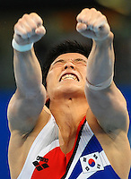 Wonchul Yoo, Korea, Silver Medal, Men's Parallel Bars .NAtional Indoor Stadium.Pechino - Beijing 19/8/2008 Olimpiadi 2008 Olympic Games.Foto Andrea Staccioli Insidefoto