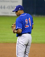 September 3, 2003:  Pitcher Dewon Day (21) of the Auburn Doubledays, Class-A affiliate of the Toronto Blue Jays, during a game at Dwyer Stadium in Batavia, NY.  Photo by:  Mike Janes/Four Seam Images