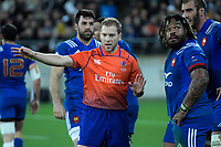 Referee Angus Gardiner and France's Mathieu Bastareaud during the Steinlager Series international rugby match between the New Zealand All Blacks and France at Westpac Stadium in Wellington, New Zealand on Saturday, 16 June 2018. Photo: Dave Lintott / lintottphoto.co.nz