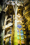 Interior of Gaudi designed cathedral La Sagrada Familia in Barcelona, Spain <br />