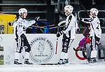 Stockholm 2014-01-10 Bandy Elitserien Hammarby IF - Sandvikens AIK :  <br /> Sandvikens Linus Forslund jublar med Sandvikens Erik S&auml;fstr&ouml;m och Sandvikens Christoffer Edlund efter ett av sina m&aring;l <br /> (Foto: Kenta J&ouml;nsson) Nyckelord:  jubel gl&auml;dje lycka glad happy