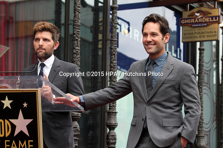 vLOS ANGELES - JUL 1:  Adam Scott, Paul Rudd at the Paul Rudd Hollywood Walk of Fame Star Ceremony at the El Capitan Theater Sidewalk on July 1, 2015 in Los Angeles, CA