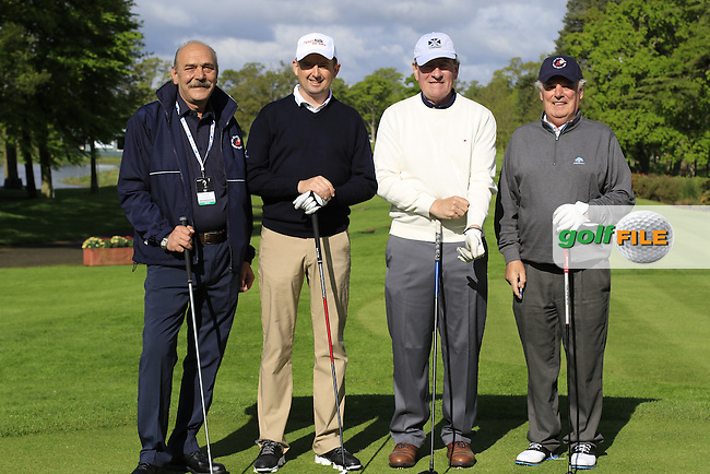 Peter Lawrie (IRL) team in action during Wednesday's Pro-Am of the 2016 Dubai Duty Free Irish Open hosted by Rory Foundation held at the K Club, Straffan, Co.Kildare, Ireland. 18th May 2016.<br /> Picture: Eoin Clarke | Golffile<br /> <br /> <br /> All photos usage must carry mandatory copyright credit (&copy; Golffile | Eoin Clarke)