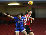 Chris Basham of Sheffield Utd and Ryan Flynn of Oldham during the English League One match at Bramall Lane Stadium, Sheffield. Picture date: December 26th, 2016. Pic Simon Bellis/Sportimage