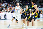 Real Madrid Sergio Llull and Iberostar Tenerife Javier Beiran during first match quarter finals of Liga Endesa Playoff between Real Madrid and Iberostar Tenerife at Wizink Center in Madrid, Spain. May 27, 2018. (ALTERPHOTOS/Borja B.Hojas)