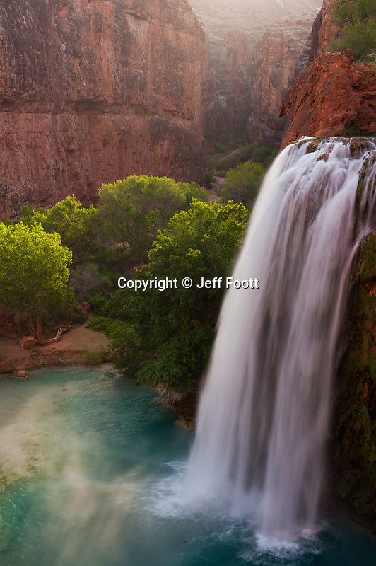 Havasu Falls at the top of the falls, Hauvasupi creek, in Havasupi Reservation, Arizona.