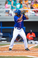 Raphael Ramirez (21) of the Kingsport Mets at bat against the Greeneville Astros at Hunter Wright Stadium on July 7, 2015 in Kingsport, Tennessee.  The Mets defeated the Astros 6-4. (Brian Westerholt/Four Seam Images)