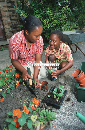 Young boy helping mother with gardening,