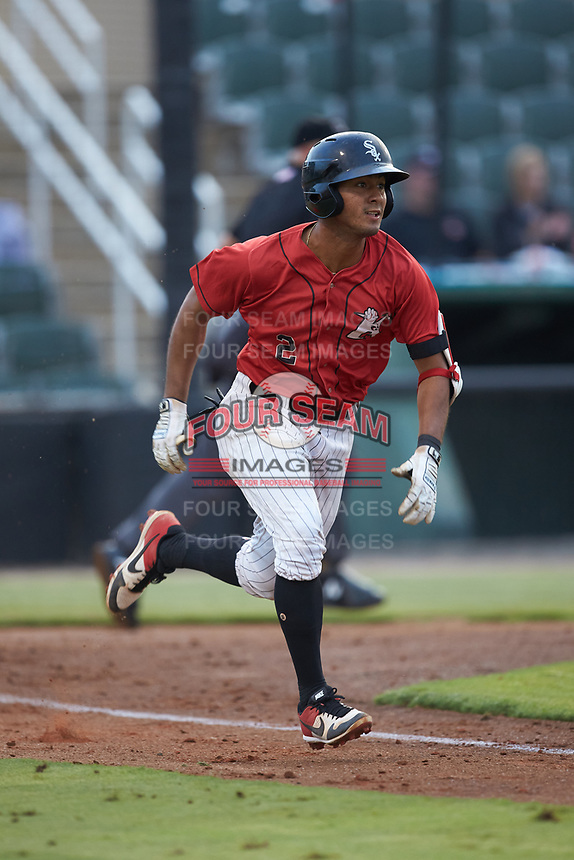 Lenyn Sosa (2) of the Kannapolis Intimidators hustles down the first base line against the Hagerstown Suns at Kannapolis Intimidators Stadium on August 27, 2019 in Kannapolis, North Carolina. The Intimidators defeated the Suns 5-4. (Brian Westerholt/Four Seam Images)