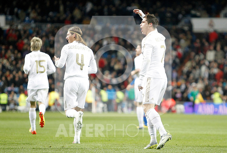 Real Madrid's Cristiano Ronaldo celebrates during La Liga match. February 12, 2012. (ALTERPHOTOS/Alvaro Hernandez)