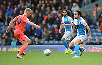 Blackburn Rovers' Lewis Travis vies for possession with Huddersfield Town's Lewis O'Brien<br /> <br /> Photographer Kevin Barnes/CameraSport<br /> <br /> The EFL Sky Bet Championship - Blackburn Rovers v Huddersfield Town - Saturday 19th October 2019 - Ewood Park - Blackburn<br /> <br /> World Copyright © 2019 CameraSport. All rights reserved. 43 Linden Ave. Countesthorpe. Leicester. England. LE8 5PG - Tel: +44 (0) 116 277 4147 - admin@camerasport.com - www.camerasport.com