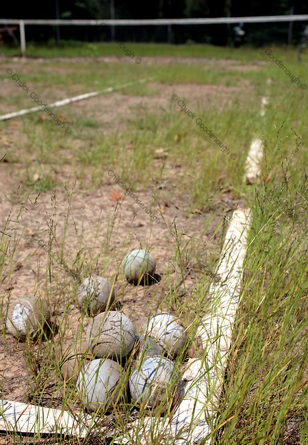Stock Photo of Rotting tennis balls on a neglected clay court