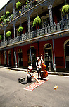 Louisiana, New Orleans: Musicians on Bourbon Street.  Photo #: lanewo101.  Photo copyright Lee Foster, www.fostertravel.com, 510/549-2202, lee@fostertravel.com