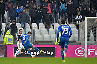 1st December 2019; Allianz Stadium, Turin, Italy; Serie A Football, Juventus versus Sassuolo; Francesco Caputo of Sassuolo shoots and scores the goal for 1-2 in the 47th minute - Editorial Use