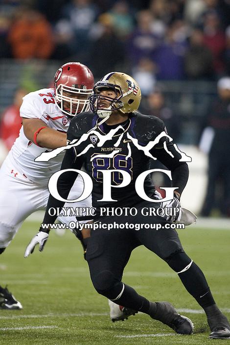 NOV 10, 2012:  Washington's Austin Seferian-Jenkins against Utah.  Washington defeated Utah  34-15 at CenturyLink Field in Seattle, WA...