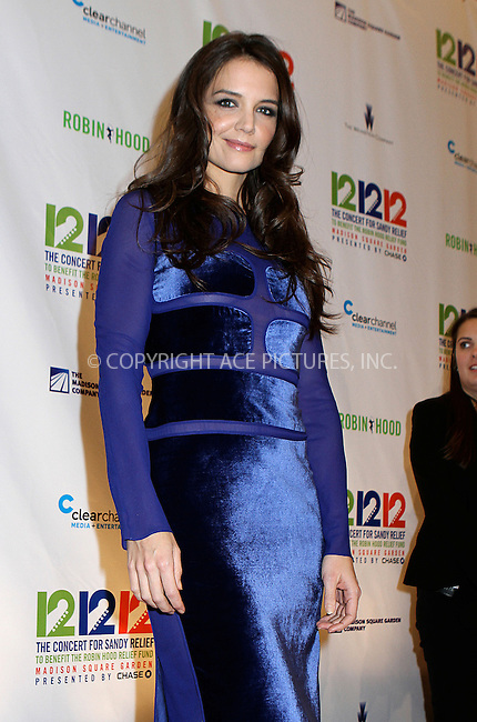 WWW.ACEPIXS.COM....December 12 2012, New York City....Katie Holmes at the '12-12-12' concert benefiting The Robin Hood Relief Fund to aid the victims of Hurricane Sandy at Madison Square Garden on December 12, 2012 in New York City.........By Line: Nancy Rivera/ACE Pictures......ACE Pictures, Inc...tel: 646 769 0430..Email: info@acepixs.com..www.acepixs.com