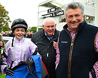 Megan Nicholls and father trainer Paul Nicholls celebrate Moabit winning The Byerley Stud 'Season Finale' Handicap trainerH during Bathwick Tyres Reduced Admission Race Day at Salisbury Racecourse on 9th October 2017