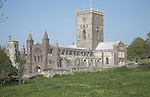 St David's cathedral, Pembrokeshire, Wales. The cathedral gives the small settlement of St David's the status of being Britain smallest city.