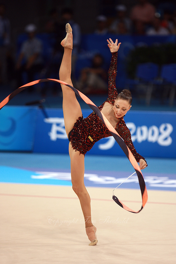 August 22, 2008; Beijing, China; Rhythmic gymnast Elizabeth Paisieva of Bulgaria performs with ribbon routine on way placing 19th in qualifying round at 2008 Beijing Olympics..(©) Copyright 2008 Tom Theobald