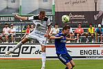 01.08.2020, C-Team Arena, Ravensburg, GER, WFV-Pokal, FV Ravensburg vs SSV Ulm 1846 Fussball, <br /> DFL REGULATIONS PROHIBIT ANY USE OF PHOTOGRAPHS AS IMAGE SEQUENCES AND/OR QUASI-VIDEO, <br /> im Bild Steffen Kienle (Ulm, #23) gewinnt ein Kopfballduell gegen Samuel Boneberger (Ravensburg, #17)<br /> <br /> Foto © nordphoto / Hafner