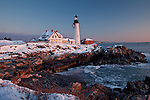 A winter sunrise on Portland Head Light in Cape Elizabeth, Greater Portland, ME, USA