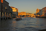 Early morning light,picture taken of bridge 'Punte te degli scalzi,'  close to the railway station, Ferroviaria, Venice, Italy. May 2007.