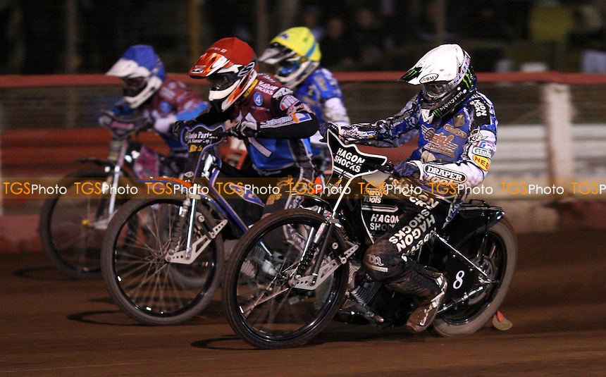 Heat 11: Chris Holder (white), Peter Karlsson (red), Sam Masters (yellow) and Robert Mear (blue) - Lakeside Hammers vs Poole Pirates, Elite League Speedway Play-Off Semi-Final 1st leg at the Arena Essex Raceway, Pufleet - 24/09/12 - MANDATORY CREDIT: Rob Newell/TGSPHOTO - Self billing applies where appropriate - 0845 094 6026 - contact@tgsphoto.co.uk - NO UNPAID USE.