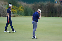 Steven Brown (ENG) with Oliver Fisher (ENG) on the 18th during Round 4 of the Portugal Masters, Dom Pedro Victoria Golf Course, Vilamoura, Vilamoura, Portugal. 27/10/2019<br /> Picture Andy Crook / Golffile.ie<br /> <br /> All photo usage must carry mandatory copyright credit (© Golffile | Andy Crook)