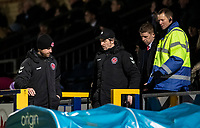 Fleetwood Town's manager Joey Barton is escorted from the stand after being sent off<br /> <br /> Photographer Andrew Kearns/CameraSport<br /> <br /> The EFL Sky Bet League One - Wycombe Wanderers v Fleetwood Town - Tuesday 11th February 2020 - Adams Park - Wycombe<br /> <br /> World Copyright © 2020 CameraSport. All rights reserved. 43 Linden Ave. Countesthorpe. Leicester. England. LE8 5PG - Tel: +44 (0) 116 277 4147 - admin@camerasport.com - www.camerasport.com