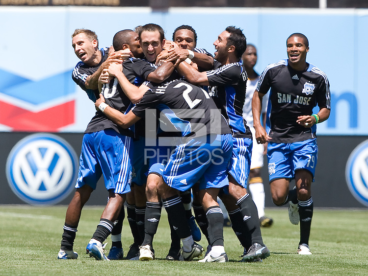 Ryan Cochrane, center, is congratulated after scoring the winning goal,.Earthquakes 3-2 over the Los Angeles Galaxy, Sunday, Aug. 3. 2008. .