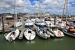 Sailing boats yachts at moorings in marina, Lowestoft, Suffolk, England, UK