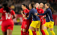 CARSON, CA - FEBRUARY 07: Christine Sinclair  #12 and her Canadian national team celebrate their win over Costa Rica during a game between Canada and Costa Rica at Dignity Health Sports Complex on February 07, 2020 in Carson, California.