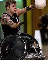 Cameron Leslie passes during the 2017 International Wheelchair Rugby Federation Asia-Oceania Zone Championships tournament match between the New Zealand Wheel Blacks and Japan at ASB Stadium in Auckland, New Zealand on Thursday, 31 August 2017. Photo: Dave Lintott / lintottphoto.co.nz