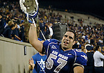 13 September  2007:  Air Force Falcon offensive guard, Nick Charles, celebrates following the Falcon's  20-17 come from behind victory over TCU at Falcon Stadium, U.S. Air Force Academy, Colorado..