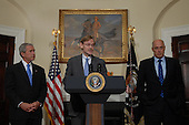 Washington, D.C. - May 30, 2007 -- Robert Zoellick speaks after U.S. President George W. Bush announced Zoellick as his choice to be the next World Bank President from the Roosevelt Room of the White House on Wednesday, May 30, 2007. Zoellick is a former Deputy Secretary of State and U.S. Trade Representative. At right is Secretary of the Treasury, Henry M. Paulson, Jr.    <br /> Credit: Roger L. Wollenberg - Pool via CNP