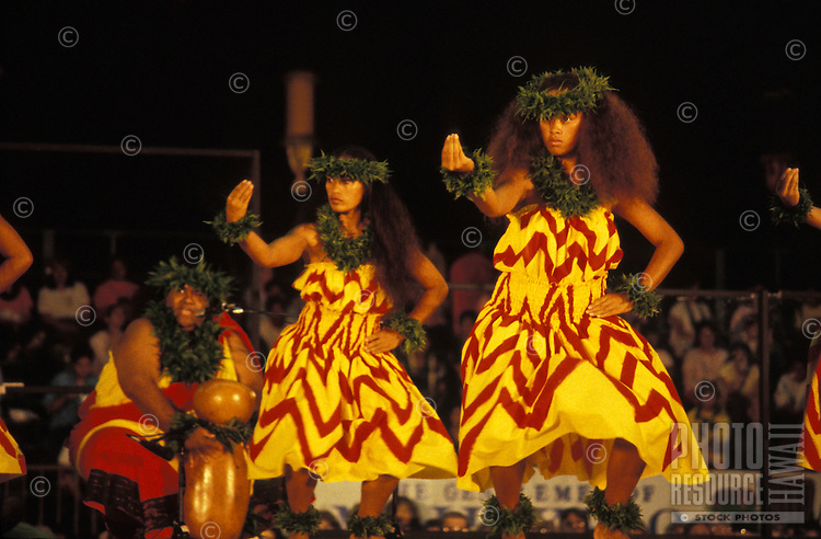 Kahiko Merrie Monarch Dancers, Hilo, Big Island of Hawaii