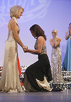 12 July, 2008:    Miss Tahoma Janet Harding (right) can barely stand as she hears she beat out Miss Tri-City Kriston Cox for the title of 2008 Miss Washington at the Pantages Theater in Tacoma , Washington.