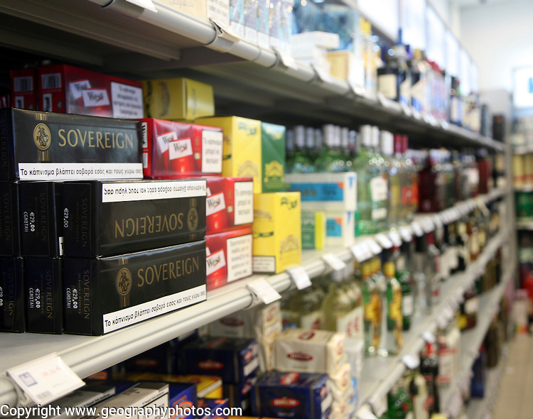 Tobacco and alcohol products at airport duty free shop, Rhodes, Greece