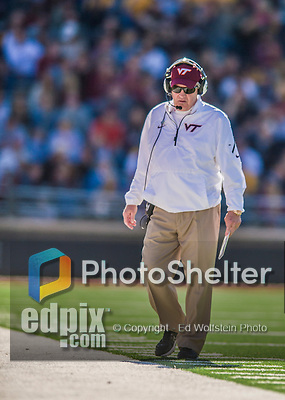 2 November 2013: Virginia Tech Hokies head coach Frank Beamer walks the sidelines in the second quarter against the Boston College Eagles at Alumni Stadium in Chestnut Hill, MA. Mandatory Credit: Ed Wolfstein-USA TODAY Sports *** RAW (NEF) Image File Available ***