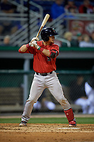 Lowell Spinners Jaxx Groshans (15) at bat during a NY-Penn League Semifinal Playoff game against the Batavia Muckdogs on September 4, 2019 at Dwyer Stadium in Batavia, New York.  Batavia defeated Lowell 4-1.  (Mike Janes/Four Seam Images)