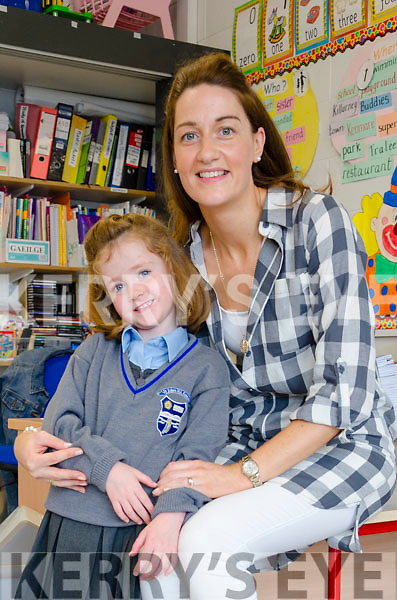 KEEPING IT IN THE FAMILY:  Mother Fiona O'Mahony a National School teacher at St John's NS in Kenmare pictured with her daughter Sadbh who will be one of the 25 pupils in her class.